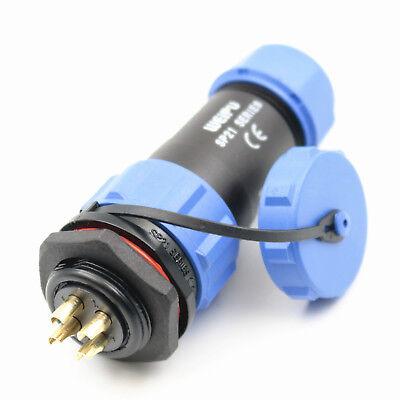1set Sp21 4pins Circular Waterproof Cable Plug Socket Connector Ip68 Panel Mount