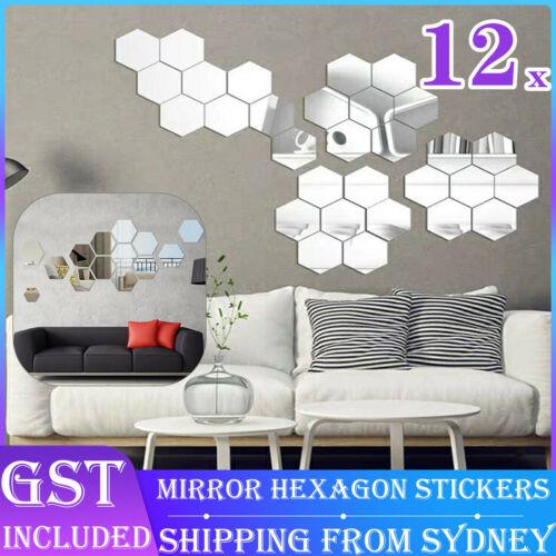 Home Decoration - 12Pcs Mirror Hexagon Removable Acrylic Wall Stickers Art DIY Home Decor Sple AUS