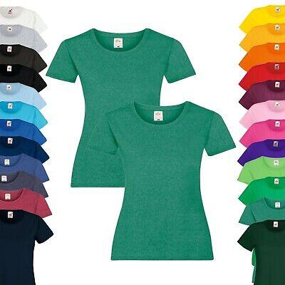 Set Kurzer Arm (2er Pack - Fruit of the Loom T-Shirt - Damen Rundhals Kurzarm - XS-2XL - Sparset)
