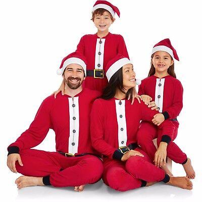 NEW Holiday Family One Piece Pajamas Santa Union Suit & Hat Womens Kids S M L XL - Santa Pajamas Kids