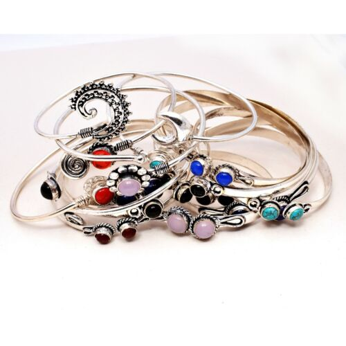 Turquoise Wholesale Lot 925 Sterling Silver Plated 20pcs Cuff Bangle Bracelets