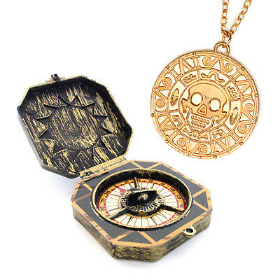 Piraten Spielzeug Kompass + Halskette mit Aztekengold Münze Azteken Kapitän