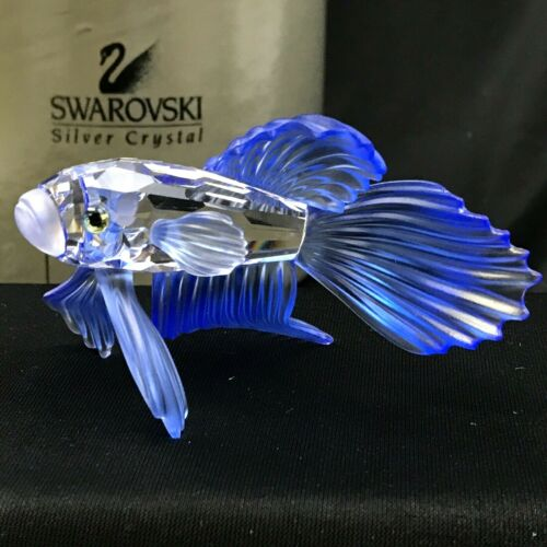Swarovski Crystal Animal Figurine South Sea Blue Siamese Fighting Fish #7644 005