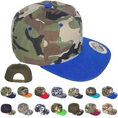 (Snapback Hat Men Camo Army Visor Baseball Cap Adjustable One Size Flat Bill New)