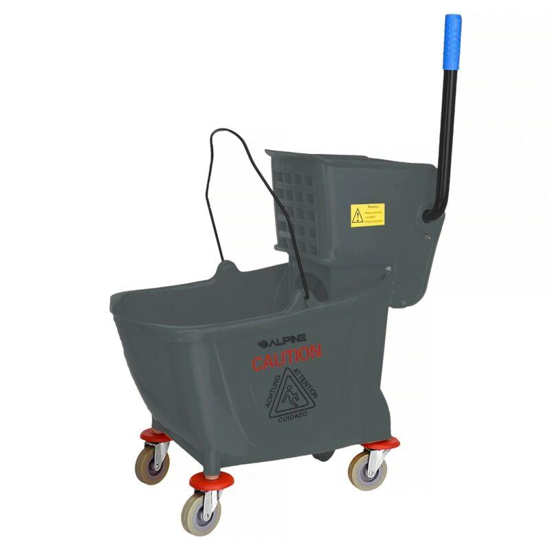 Alpine Industries 36 Quart Gray Side Press Commercial Combo Mop Bucket