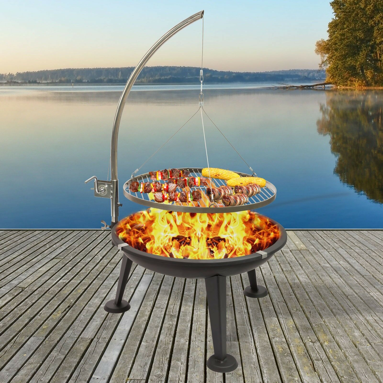 Schwenkgrill 3-Bein Rundgrill Holzkohlegrill Barbecue BBQ Grill Ø 55 cm