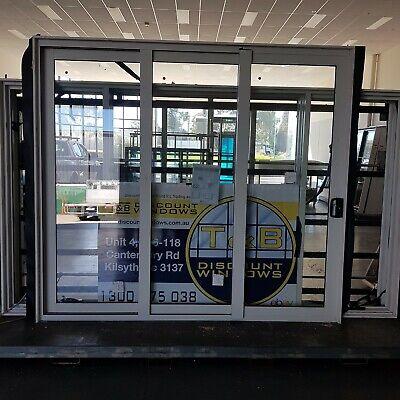 Aluminium Stacker Door 2415H x 2690W (Item 4978) Surfmist DOUBLE GLAZED