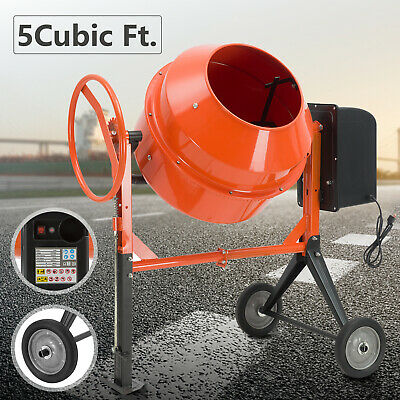 5cuft-12hp Portable Electric Concrete Cement Mixer Barrow Machine Mixing Mortar