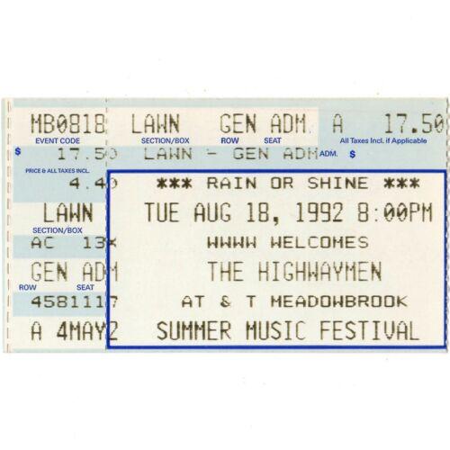 THE HIGHWAYMEN Concert Ticket Stub ROCHESTER HILLS MI 8/18/92 MEADOW Rare