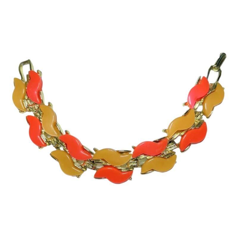 "Brightly Colored Unique Vintage Gold Tone Orange & Peachy Colored Bracelet 7.5"""