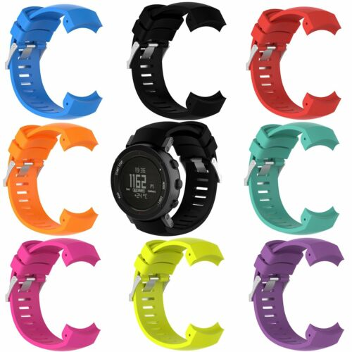 Sportivo Silicone Orologio Cinturino Fibbia Per Suunto Core Alu Black GPS Watch