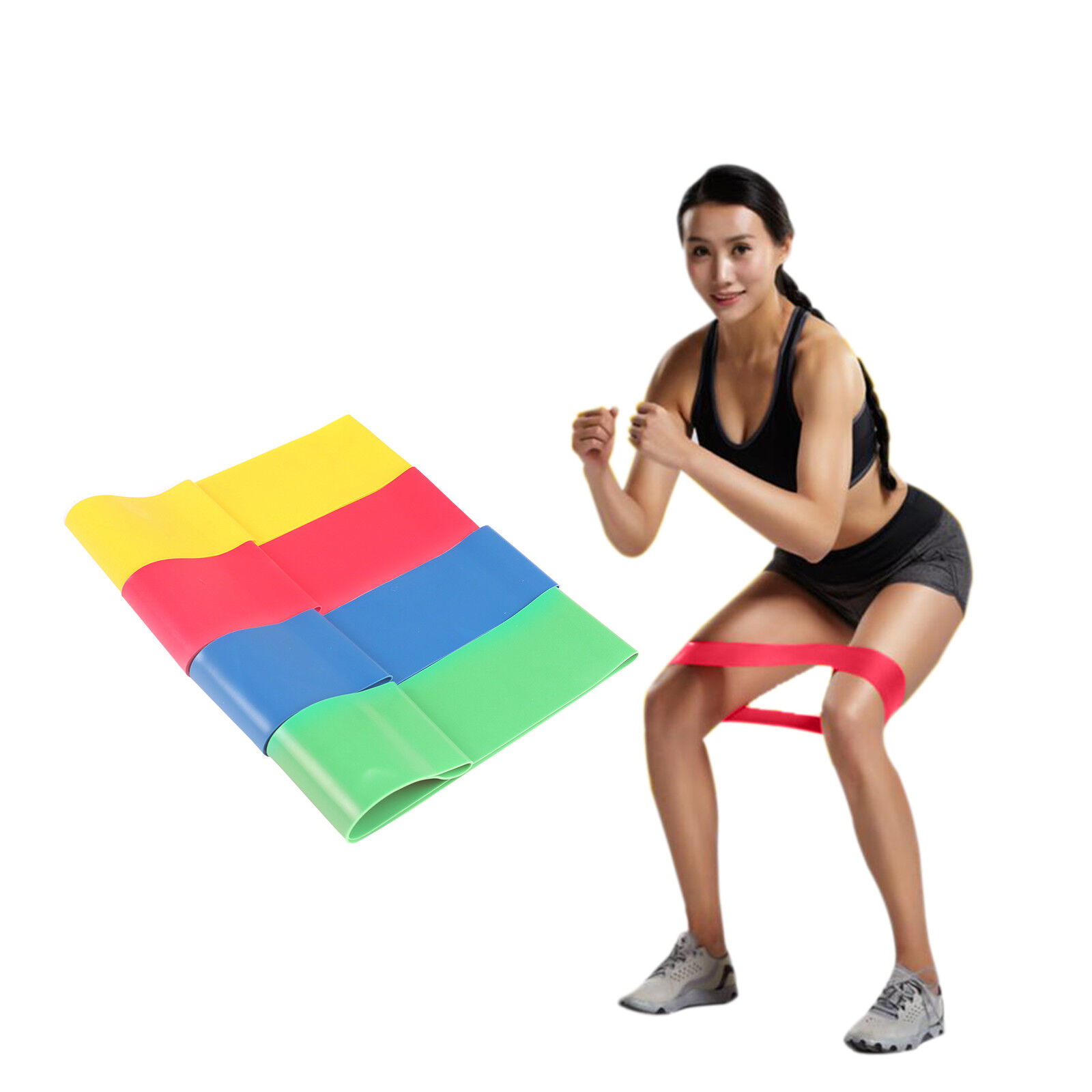 4 in 1 Resistance Loop Exercise Yoga Bands Workout Fitness T