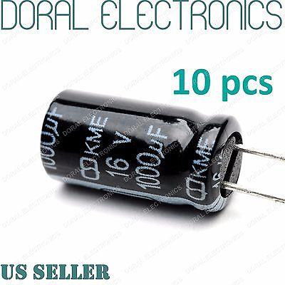 10 Pcs 1000 Uf 1000mfd 16v 105c Electrolytic Capacitor 8x16mm 1000uf Mdf 105c
