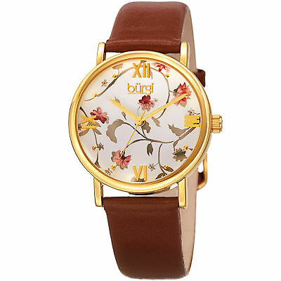 Women's Burgi BUR186BR Floral Print Rose Gold Tone Brown Leather Strap Watch
