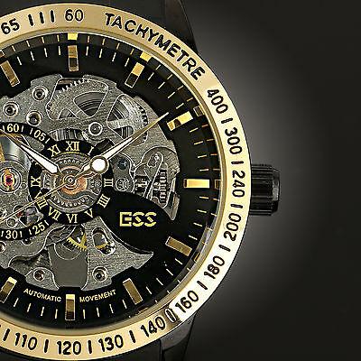 ESS Luxury Mens Skeleton Mechanical Sport Wrist Watch Black Automatic Stainless