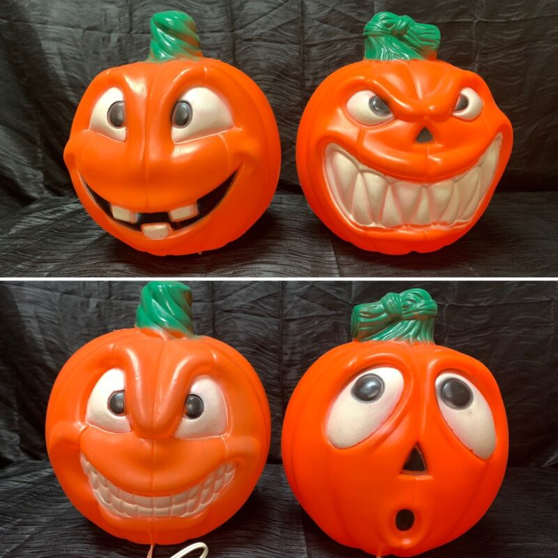 """Lot of 2 12"""" Double Sided EMPIRE BLOW MOLD 2-FACE Jack-O-Lanterns HALLOWEEN"""