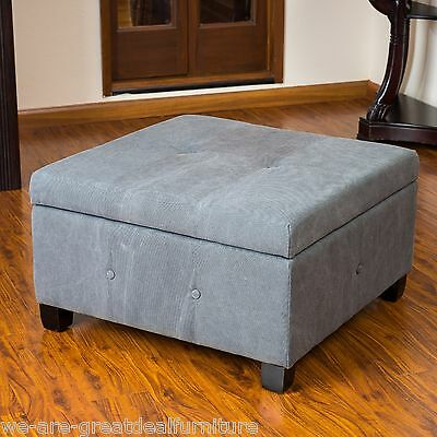 Elegant Grey Fabric Storage Ottoman Coffee Table w/ Button Tufted Accents