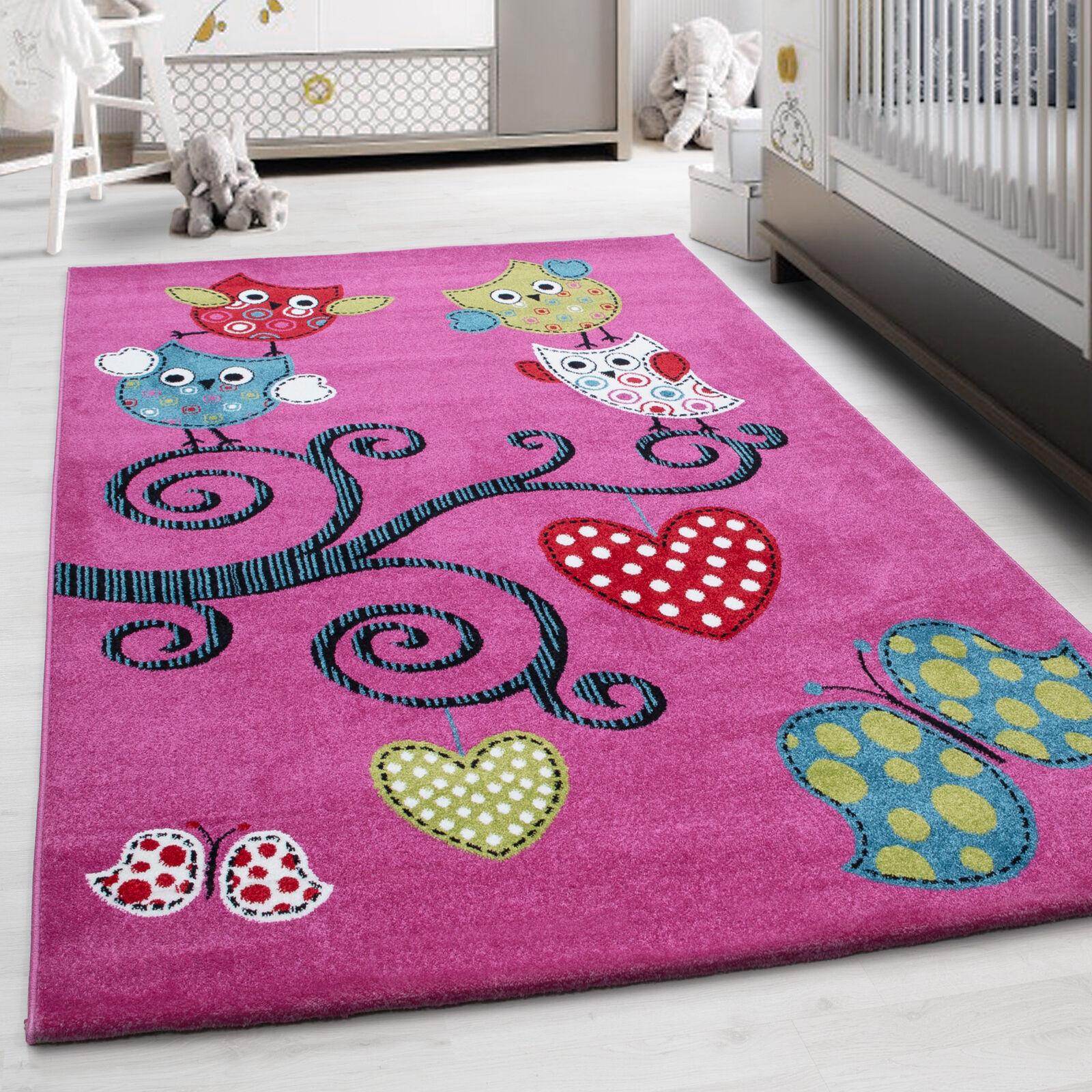Kinderteppich Kinderzimmer Bunt Niedliche Eulen Schmetterling Herz Muster Pink