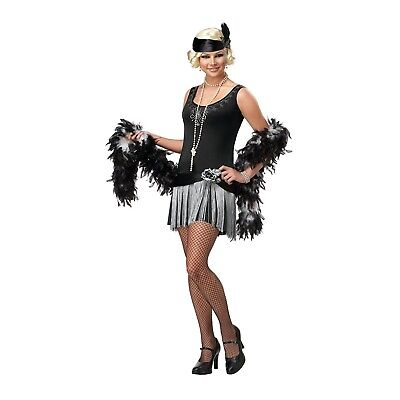 Flapper Girls Costume (1920s Gatsby Party Flapper Girl TEEN Costume Black Fringe Dress Headband L)