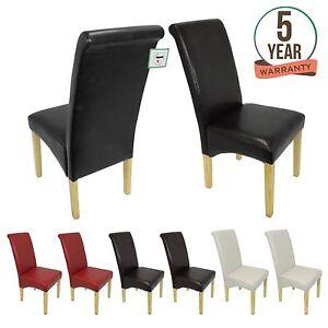 Premium faux cuir chaise salle manger rouleau haut for Chaises salle manger cuir dossier haut