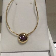 Brand new 9ct gold amethyst pendant and 45cm 9ct snake chain. Eaton Dardanup Area Preview