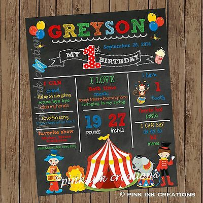 CIRCUS Chalkboard Birthday Sign / Circus First Birthday Stats Sign / Printable (Birthday Chalkboard Sign)