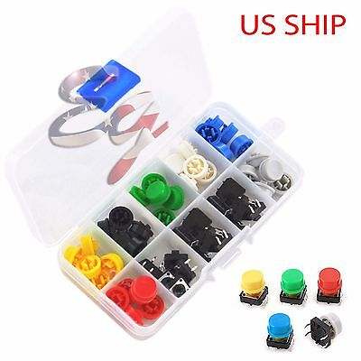 Tactile Push Button Switch Momentary Tact Cap 12x12x7.3mm Assorted Kit Arduino