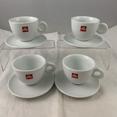 Set Of 4 Illy Coffe Cuts & Saucers Original White & Red Logo Italy Italian Coffe