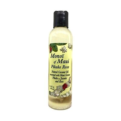Monoi of Maui Pikake Rose Natural Coconut Oil for Skin, Hair, Tanning, & (Pikake Rose)