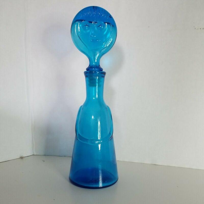 Vintage Kosta Boda Erik Hoglund Blue Glass People Face Decanter Bottle Blue Used