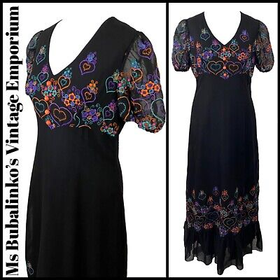 Size 8 Vintage Maxi Dress 1970s Black Embroidered Betty Barclay Frill Tier Boho