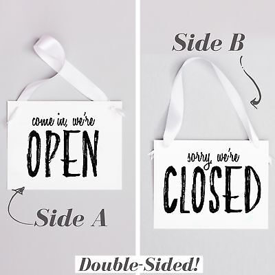 Open Closed Business Sign Window Banner For Shop Boutique Store Or Home Office