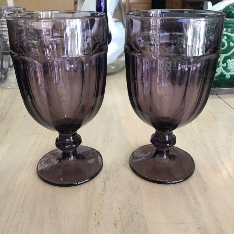Libbey USA Duratuff Gibraltar Goblets Purple Ice Tea water Lot of 2