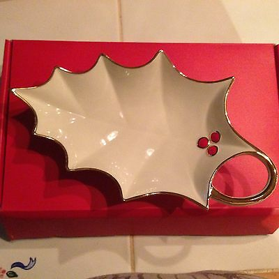 Lenox  Christmas Holly Leaf Candy Dish New In Box Holiday - Holiday Items