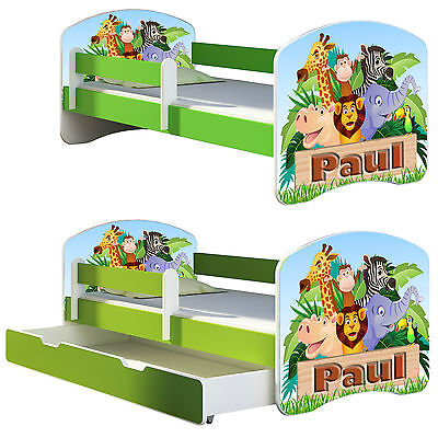 Jugendbett Kinderbett mit einer Schublade und Matratze 140x70 160x80  Grün