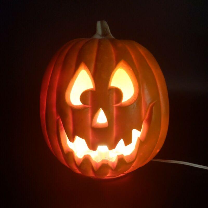 Lighted Jack o Lantern Pumpkin Blow Mold 9.5 Inches Tall Light Up Foam