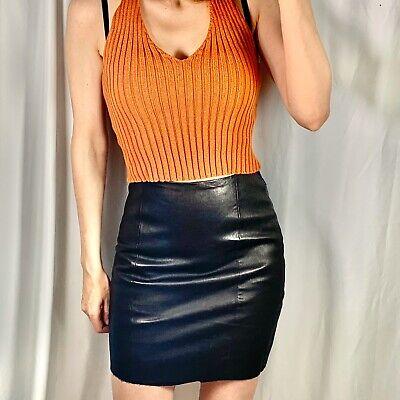 Genuine Leather Mini Skirt Size Xs 0 2 Black Womens