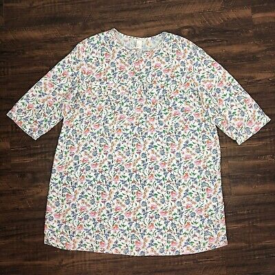 H&M 14 White Floral Spring Print Short Sleeve Button Tunic Pocket Large Blouse