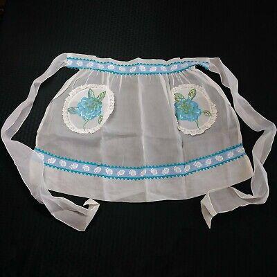 Vintage Aprons, Retro Aprons, Old Fashioned Aprons & Patterns Vtg Sheer Half Apron Pockets Lace Blue Flowers $9.99 AT vintagedancer.com