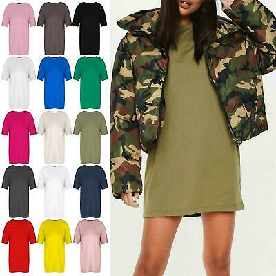 Ladies Womens Oversized Baggy Short Sleeve Tunic Pullover T Shirt Mini Dress