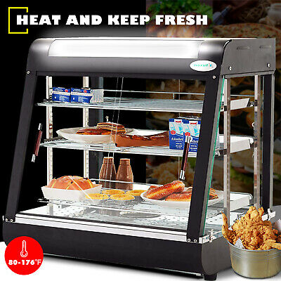 Commercial Food Warmer Court Heat Food pizza Display Warmer Cabinet 3-Tier Glass ()