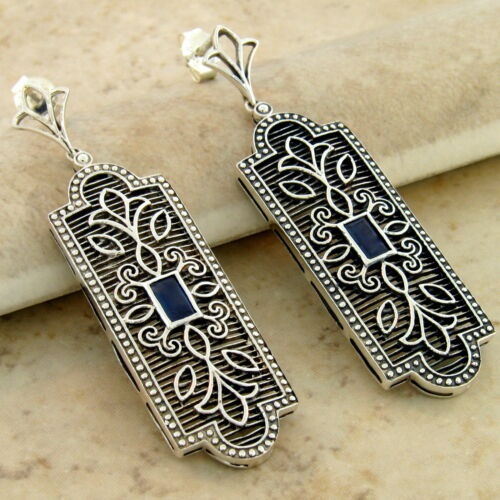 GENUINE SAPPHIRE ANTIQUE STYLE 925 STERLING SILVER FILIGREE EARRINGS,       #985