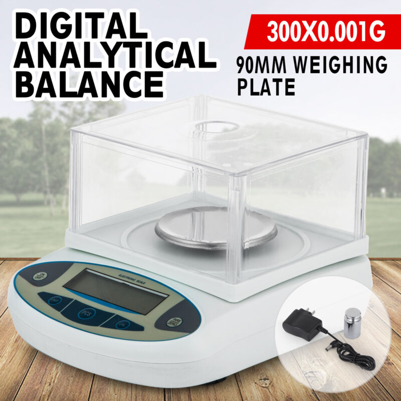 300 x 0.001 g Lab Analytical Balance Digital Scale 1mg 0-300g Wind Shield