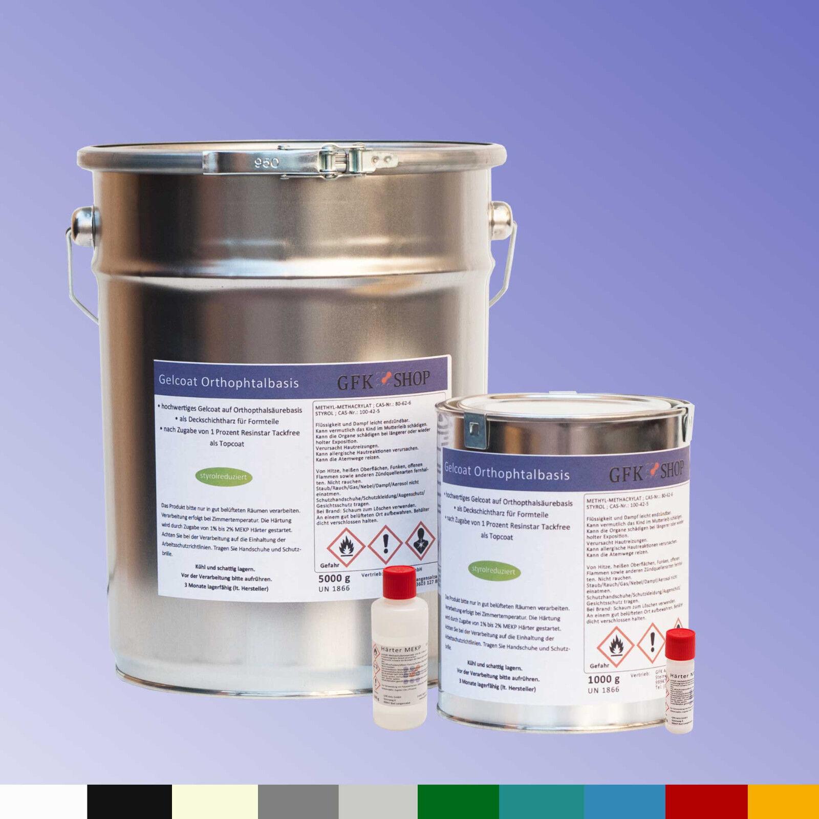 Gelcoat Orthophtalbasis 1kg o. 5kg styrolreduziert, plus Farbpaste, auch Topcoat