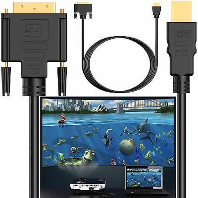 DVI-D 24+1 Pin Male To HDMI Digital Gold Lead For PC Computer Laptop To Monitor