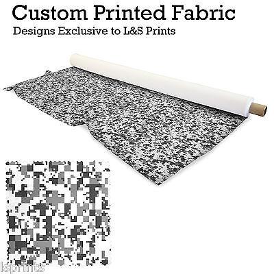 BLACK WHITE DIGITAL CAMOUFLAGE FABRIC LYCRA SATIN JERSEY CHIFFON FROM £15.99 - White Camo Satin Fabric