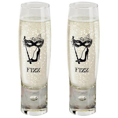 2x Ladies' Fizz Champagne Glasses 150ml Flutes Sparkling Prosecco Party Bucks