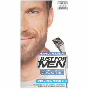 Just For Men Light Medium Brown Moustache and Beard M-30- GENUINE/FREE DELIVERY