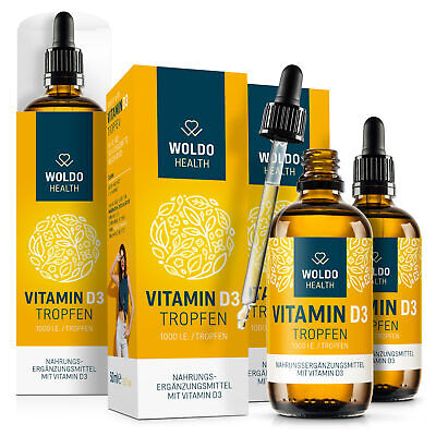 Vitamin D3 Tropfen 1.000 I.E. 50µg hochdosiert MCT Öl aus Kokosöl 3x 50ml
