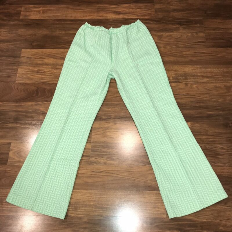 Vtg 60s 70s Green POLYESTER Disco Leisure Suit FLARE LEG Pants Stretch Womens 16
